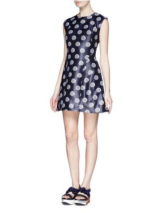 Figure View - Click To Enlarge - KENZO - Polka dot chintz jacquard flare dress