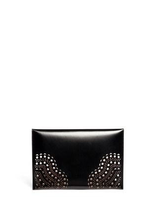 Back View - Click To Enlarge - Alaïa - Perforated corner leather envelope clutch
