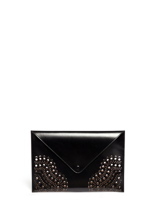 Main View - Click To Enlarge - Alaïa - Perforated corner leather envelope clutch