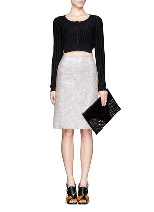Figure View - Click To Enlarge - Alaïa - Perforated corner leather envelope clutch