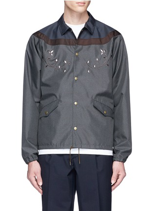 Main View - Click To Enlarge - KOLOR - Contrast yoke floral embroidered coach jacket