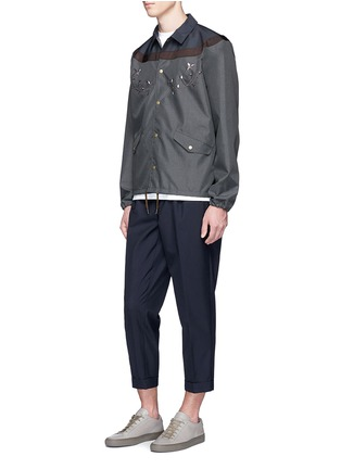 Figure View - Click To Enlarge - KOLOR - Contrast yoke floral embroidered coach jacket