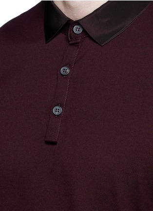 Detail View - Click To Enlarge - LANVIN - Slim fit grosgrain collar polo shirt