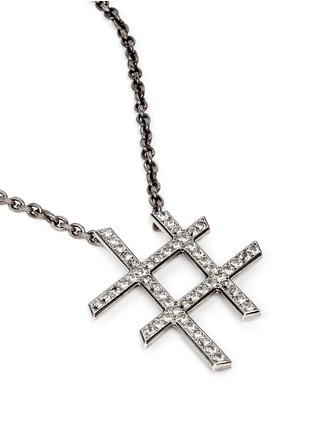 Detail View - Click To Enlarge - Lanvin - 'Hashtag' glass crystal pendant necklace