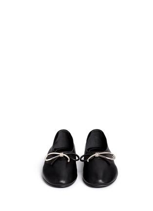 Front View - Click To Enlarge - Balenciaga - Metal bow nappa leather ballerina flats