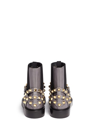 Back View - Click To Enlarge - Balenciaga - 'Classic' stud harness leather Chelsea boots