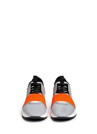 Front View - Click To Enlarge - Balenciaga - 'Race Runners' leather combo neoprene sneakers
