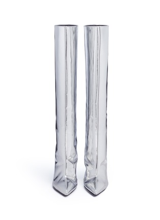 Front View - Click To Enlarge - Balenciaga - Mirror leather knee high point toe boots