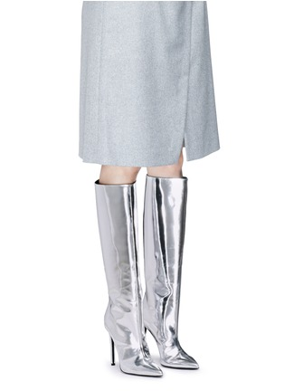 Figure View - Click To Enlarge - Balenciaga - Mirror leather knee high point toe boots