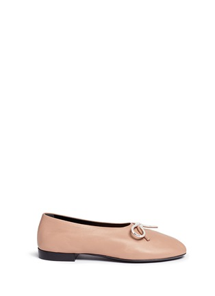 Main View - Click To Enlarge - Balenciaga - Metal bow nappa leather ballerina flats