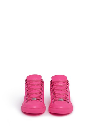 Front View - Click To Enlarge - Balenciaga - 'Arena' creased neon lambskin leather sneakers