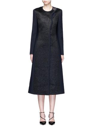 Main View - Click To Enlarge - Roksanda - 'Evanton' curly fur panel wool blend frock coat