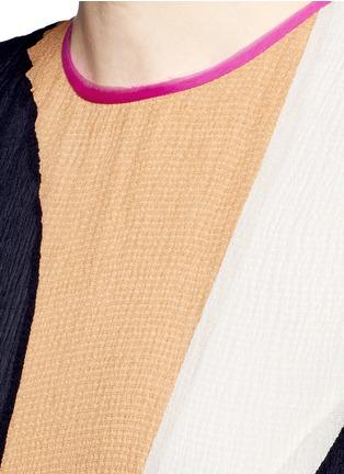 Detail View - Click To Enlarge - Roksanda - 'Rebecca' colourblock silk seersucker midi dress