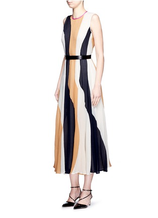 Figure View - Click To Enlarge - ROKSANDA - 'Rebecca' colourblock silk seersucker midi dress