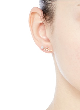 Figure View - Click To Enlarge - PHYNE BY PAIGE NOVICK - 'Unstable' diamond pavé pearl 18k gold earrings