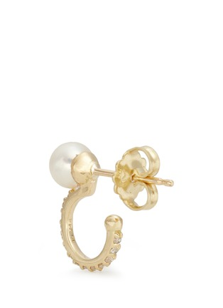 Detail View - Click To Enlarge - PHYNE BY PAIGE NOVICK - 'TPLT' diamond pavé hook pearl 18k gold earrings
