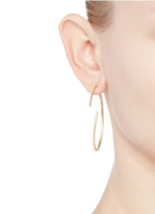 Figure View - Click To Enlarge - Phyne By Paige Novick - 'Converge' diamond pavé 18k gold hoop earrings