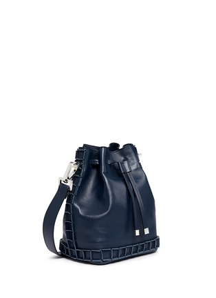 Front View - Click To Enlarge - TOMASINI - '52 Squares' medium leather bucket bag