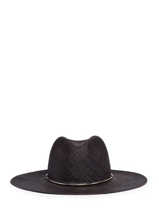Main View - Click To Enlarge - Janessa Leone - 'Begonia' metal ring straw Panama hat