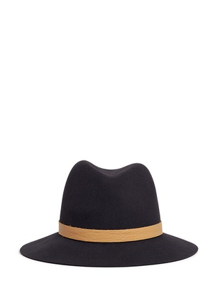 Main View - Click To Enlarge - Janessa Leone - 'Lucy' leather band wool felt fedora hat