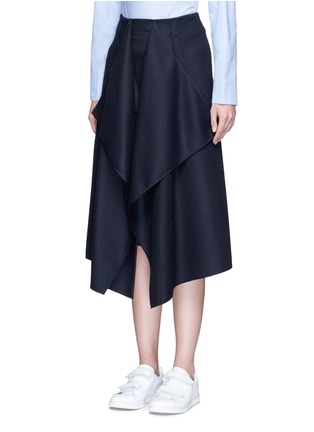 Front View - Click To Enlarge - CÉDRIC CHARLIER - Drape front wool midi skirt