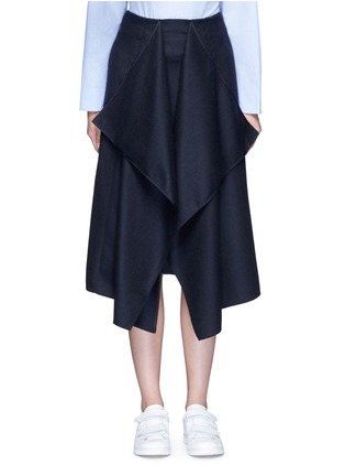 Main View - Click To Enlarge - CÉDRIC CHARLIER - Drape front wool midi skirt
