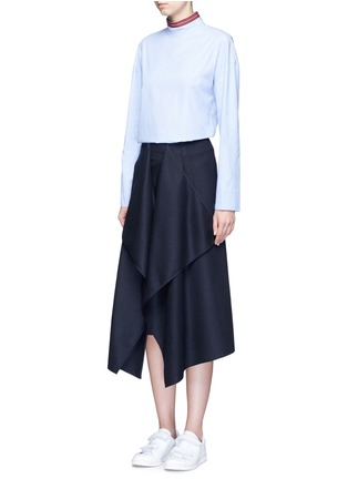 Figure View - Click To Enlarge - CÉDRIC CHARLIER - Drape front wool midi skirt