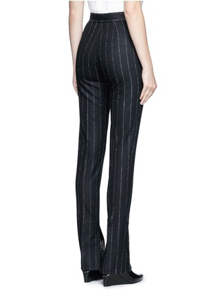 Back View - Click To Enlarge - Cédric Charlier - Pinstripe split cuff skinny fit pants