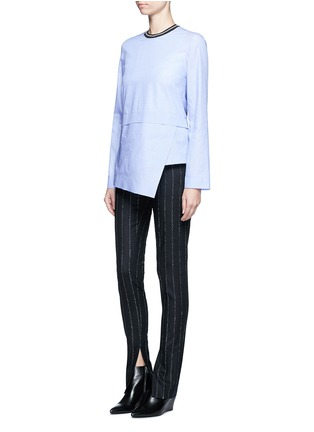 Figure View - Click To Enlarge - Cédric Charlier - Pinstripe split cuff skinny fit pants