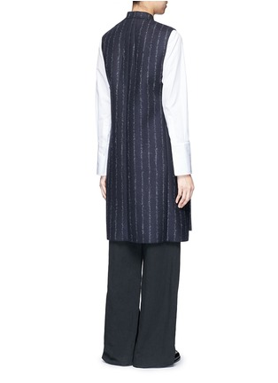 Back View - Click To Enlarge - CÉDRIC CHARLIER - Pinstripe revers lapel long vest