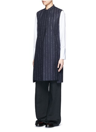 Front View - Click To Enlarge - CÉDRIC CHARLIER - Pinstripe revers lapel long vest
