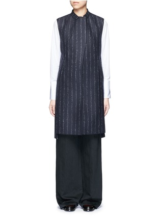 Main View - Click To Enlarge - CÉDRIC CHARLIER - Pinstripe revers lapel long vest