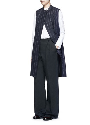 Figure View - Click To Enlarge - CÉDRIC CHARLIER - Pinstripe revers lapel long vest