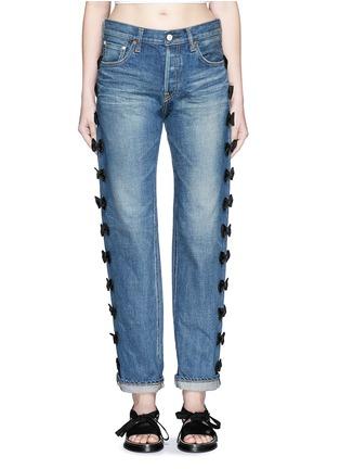 Detail View - Click To Enlarge - Tu Es Mon Trésor - Petersham ribbon bow appliqué selvedge jeans