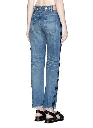 Back View - Click To Enlarge - Tu Es Mon Trésor - Petersham ribbon bow appliqué selvedge jeans