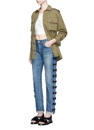 Figure View - Click To Enlarge - Tu Es Mon Trésor - Petersham ribbon bow appliqué selvedge jeans