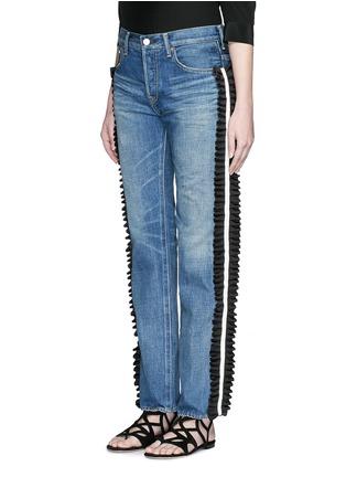Front View - Click To Enlarge - Tu Es Mon Trésor - Ruffle petersham ribbon trim selvedge jeans