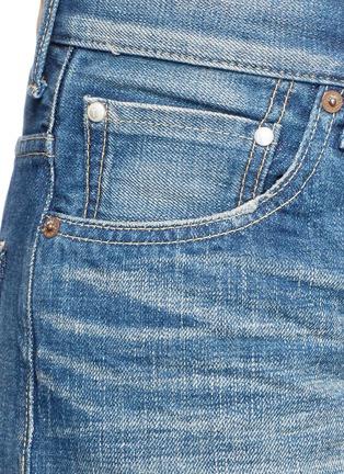 Detail View - Click To Enlarge - Tu Es Mon Trésor - Petersham ribbon bow cuff selvedge jeans