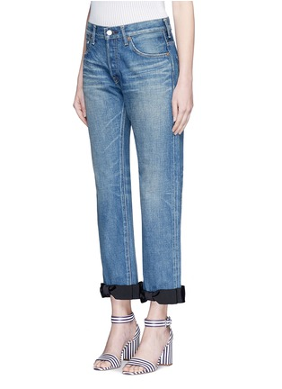 Front View - Click To Enlarge - Tu Es Mon Trésor - Petersham ribbon bow cuff selvedge jeans