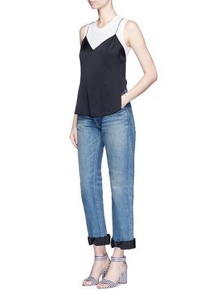 Figure View - Click To Enlarge - Tu Es Mon Trésor - Petersham ribbon bow cuff selvedge jeans