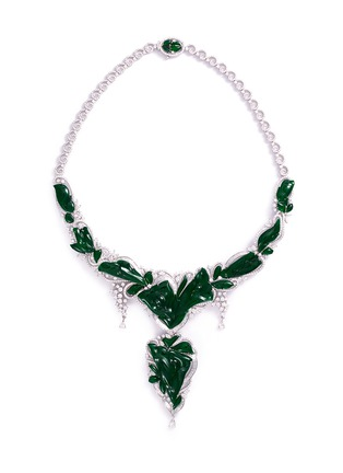 Main View - Click To Enlarge - LC COLLECTION JADE - Diamond jade 18k gold floral pendant necklace
