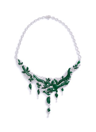 Main View - Click To Enlarge - LC COLLECTION JADE - Diamond jade 18k gold vine necklace