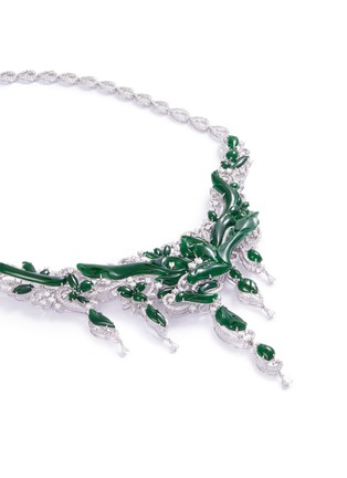 Figure View - Click To Enlarge - LC COLLECTION JADE - Diamond jade 18k gold vine necklace