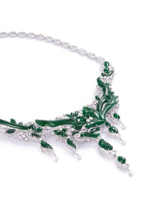 LC Collection Jade Diamond jade 18k gold vine necklace