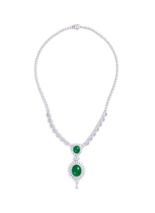 Main View - Click To Enlarge - LC COLLECTION JADE - Diamond jade 18k gold pendant necklace