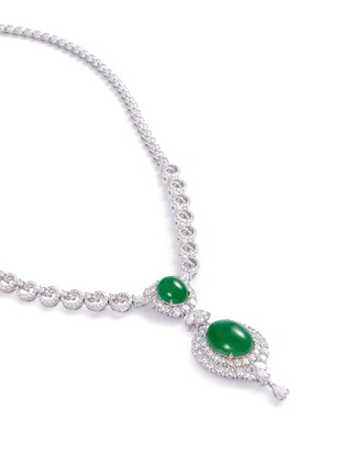 Figure View - Click To Enlarge - LC COLLECTION JADE - Diamond jade 18k gold pendant necklace