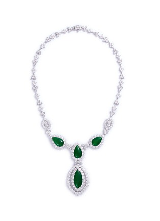 Main View - Click To Enlarge - LC COLLECTION JADE - Diamond jade 18k gold marquise pendant necklace