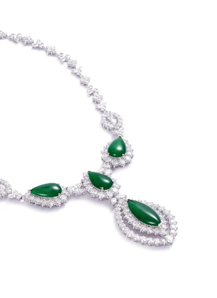 Figure View - Click To Enlarge - LC COLLECTION JADE - Diamond jade 18k gold marquise pendant necklace