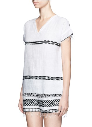 Front View - Click To Enlarge - Lemlem - 'Freya' tibeb embroidery V-neck T-shirt