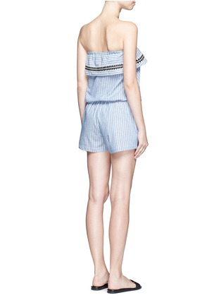 Back View - Click To Enlarge - Lemlem - 'Mara' stripe embroidery strapless rompers